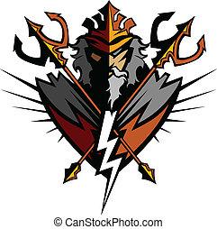 titan, mascote, com, tridente, e, coroa