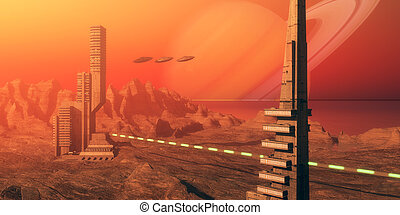 Titan Moon Habitat - Skyscrapers are part of a colony based...