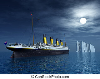Computer generated 3D illustration with the Titanic and an Iceberg