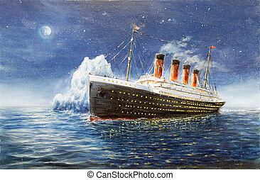 Titanic and Iceberg