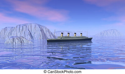 Titanic boat sinking - 3D render
