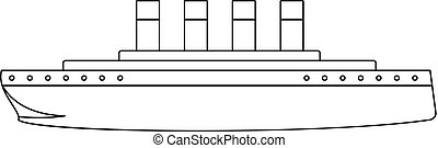 Titanic icon, outline style.