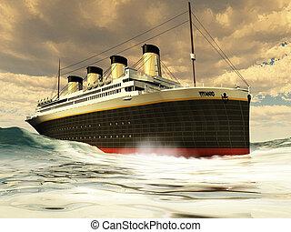 TITANIC OCEAN-LINER - The grand and elegant Titanic glides...