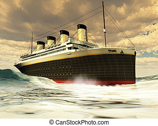 TITANIC OCEAN-LINER - The grand and elegant Titanic glides...