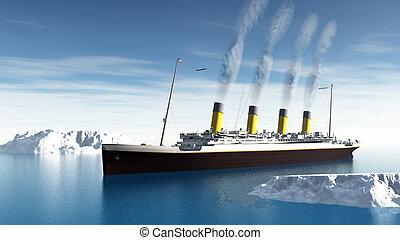 Famous Titanic ship floating among icebergs on the water by cloudy day - 3D render