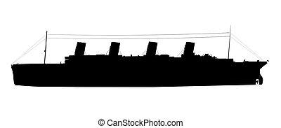 titanic silhouette - titanic super large silhouette isolated...