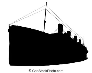 titanic silhouette isolated on white background