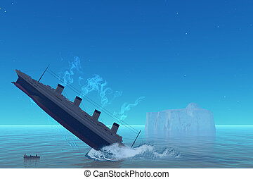 Titanic Sinking - The RMS Titanic ship of history goes down...
