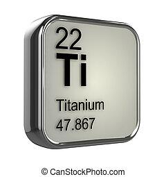 titanio, 3d, elemento