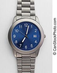 titanio, bianco, orologio, isolato