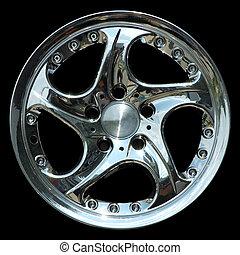 Titanium car rim texture isolated - Aluminium metal wheel...