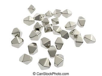 Titanium dioxide TiO2 nanoparticles, 3D illustration. TiO2...