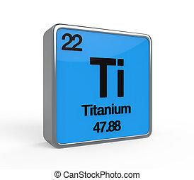 Titanium Element Periodic Table isolated on white...