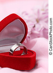 Titanium engagement ring with diamond in a heart shaped box...