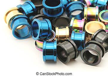 Titanium Jewelry - A big pile of colorful titanium screw on...
