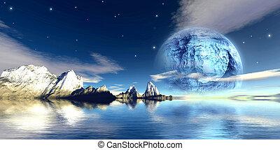 Titanium moon - Digital created scifi scenery. 3D render + ...