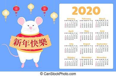 titel, muis, start, chinees, rat., week, sunday., vertaling, vrolijke , nieuw, year., meldingsbord, vasthouden, wishes., kalender, 2020., jaar, witte