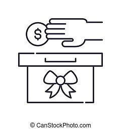 Tithe icon, linear isolated illustration, thin line vector, web design sign, outline concept symbol with editable stroke on white background.