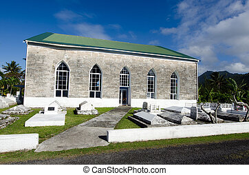 RAROTONGA - SEP 21:Titikaveka Church on Sep 21 2013.The dominant religion of Polynesia and the Cook Islands is Christianity since the first missionaries arrived in 1821.
