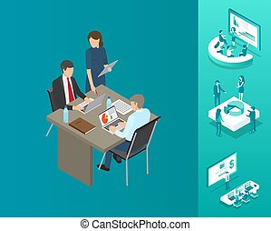 titkár, vektor, blockchain, ábra, főnök