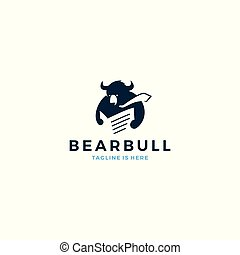 Title bear bull reading newspaper wearing tie logo mascot icon vector template illustration