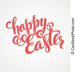 Title Happy Easter. Hand  drawn lettering