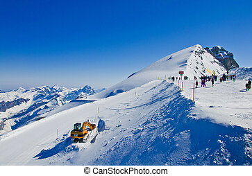 Titlis panorama above Truebsee in winter, Engelberg,...