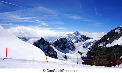 Titlis snow mountains and mist in Engelberg, Lucerne,...