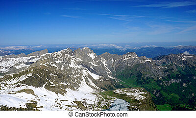 Titlis snow mountains background, Lucerne, Switzerland