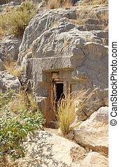 titokzatos, barlang, belépés