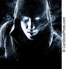 titokzatos, elvont, dohányzik, ember