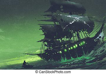 titokzatos, tenger, hajó, repülés, szellem, dutchman, kalóz...