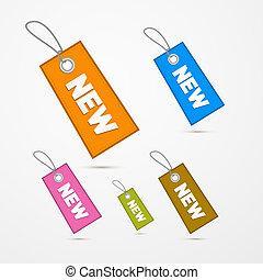titolo, etichette, etichette, carta, retro, nuovo, stringhe
