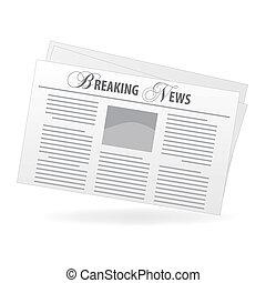 """titolo giornale, immagine, isolato, news"""", fondo., """"breaking..."""