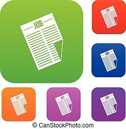titolo, giornale, lavoro, set, collezione