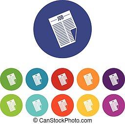 titolo, giornale, lavoro, set, icone