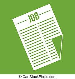 titolo, giornale, lavoro, verde, icona
