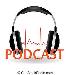 titolo, immagine, cuffie, isolato, fondo., bianco, podcast