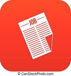 titolo, lavoro, digitale, giornale, rosso, icona