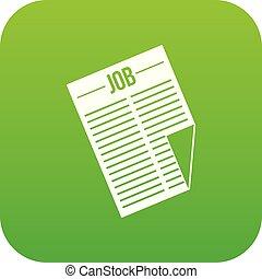 titolo, lavoro, verde, digitale, giornale, icona