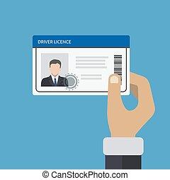 titolo portafoglio mano, automobile, id, guida, scheda, license.