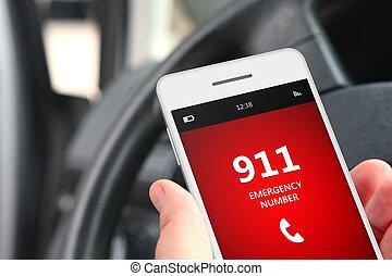titolo portafoglio mano, cellphone, con, emergenza, numero,...