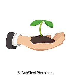 titolo portafoglio mano, giovane pianta, cartone animato, icona