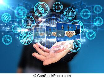 titolo portafoglio mano, mondo digitale, sociale, media, concetto