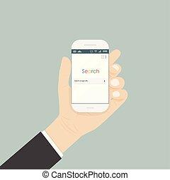titolo portafoglio mano, smartphone, e, ricerca, browser, finestra, su, il, schermo, isolato, su, il, background.browser, search.internet, search engine, browser, finestra.
