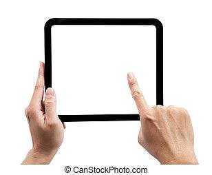 titolo portafoglio mano, touchpad, e, toccante, il, schermo