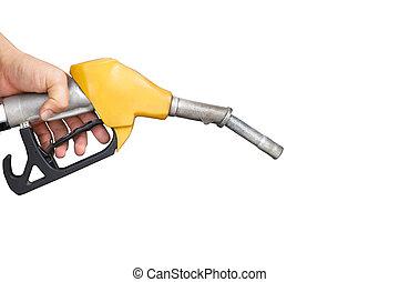 titolo portafoglio mano, ugello pompa gas, isolato, bianco