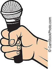 titolo portafoglio mano, uno, microfono