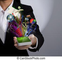 titolo portafoglio mano, uno, telefono mobile