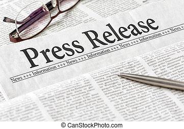 titolo, premere, giornale, rilascio
